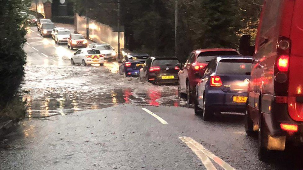 Cars in flooded water