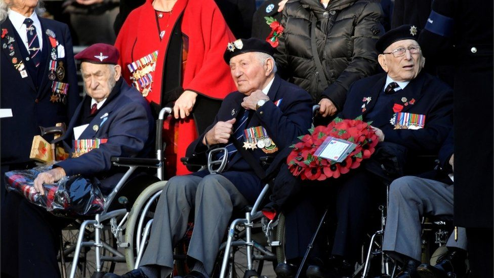 Veterans wait for a National Service of Remembrance at the Cenotaph