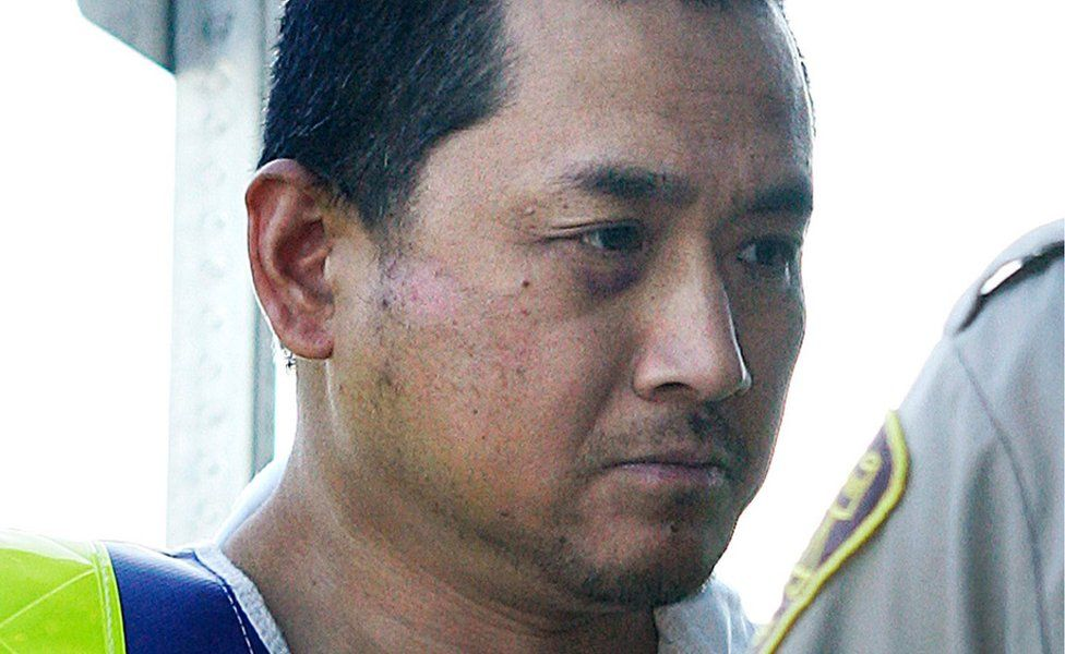 Vince Weiguang Li, accused of stabbing, beheading and cannibalizing another man on a Greyhound bus in Canada ,is brought to a Portage La Prairie court on 5 August, 2008