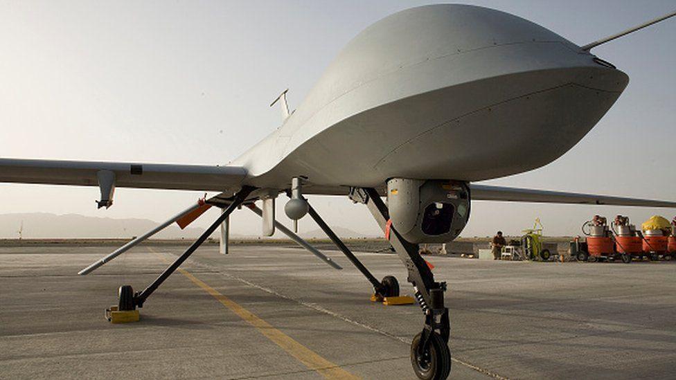 A US Air Force Predator aircraft lying stationary