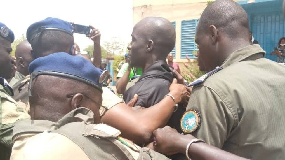 Baye Modou Fall upon his arrival at the gendarmerie