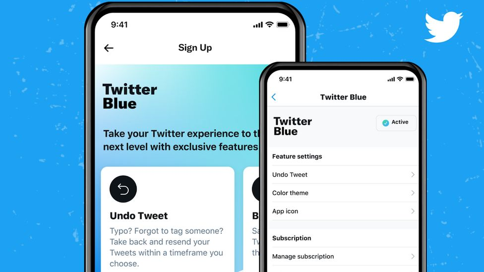 A phone mock-up shows the Twittter blue sign-up subscription screens