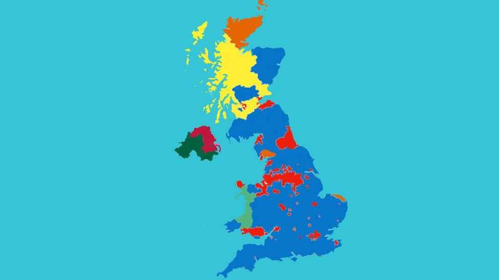 Bbc Constituency Map Why does the map look so blue, yet the Conservatives didn't win