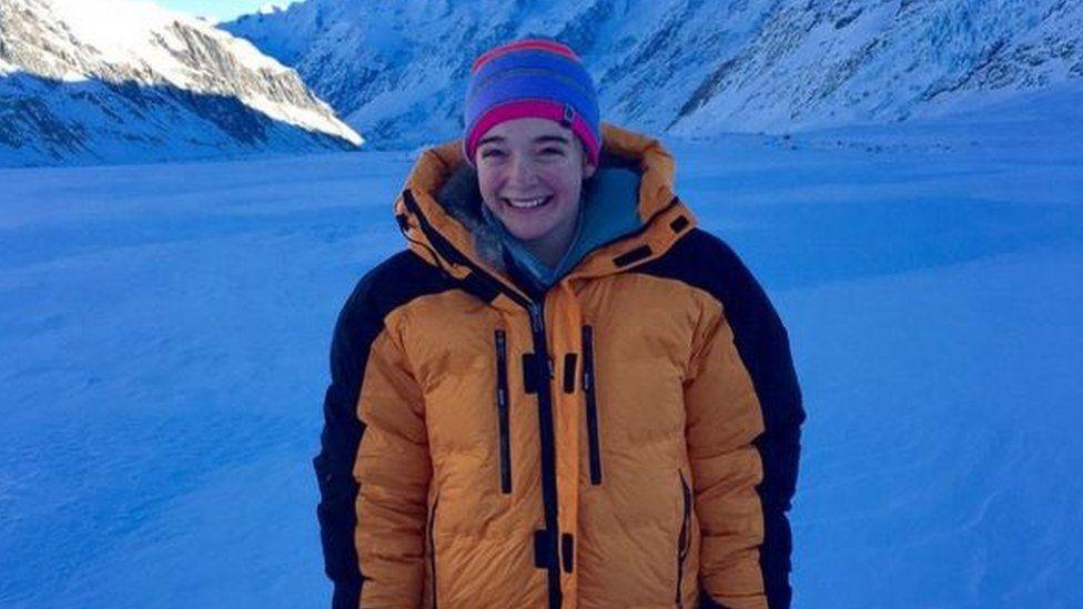 Jade Hameister on the Tasman Glacier in New Zealand