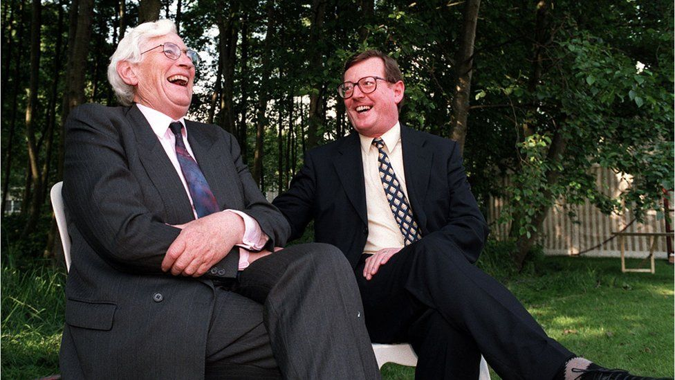 Seamus Mallon and David Trimble on the first day of the new NI Executive, 1 July 1998