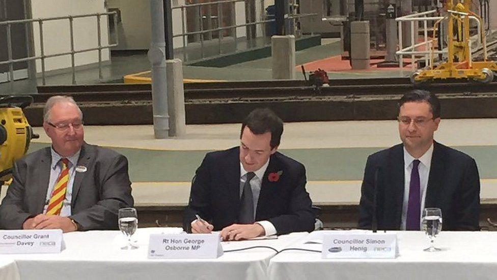Councillor Grant Davey, Chancellor George Osborne and Councillor Simon Henig