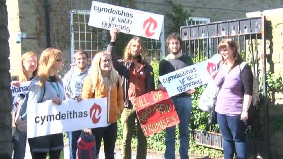 Protestors outside Pantycelyn halls