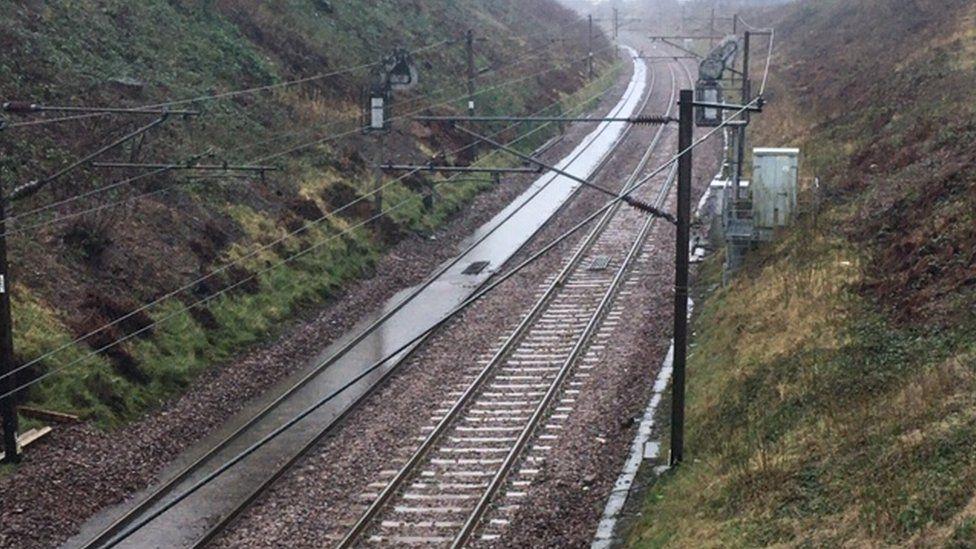 Flooding on railway line