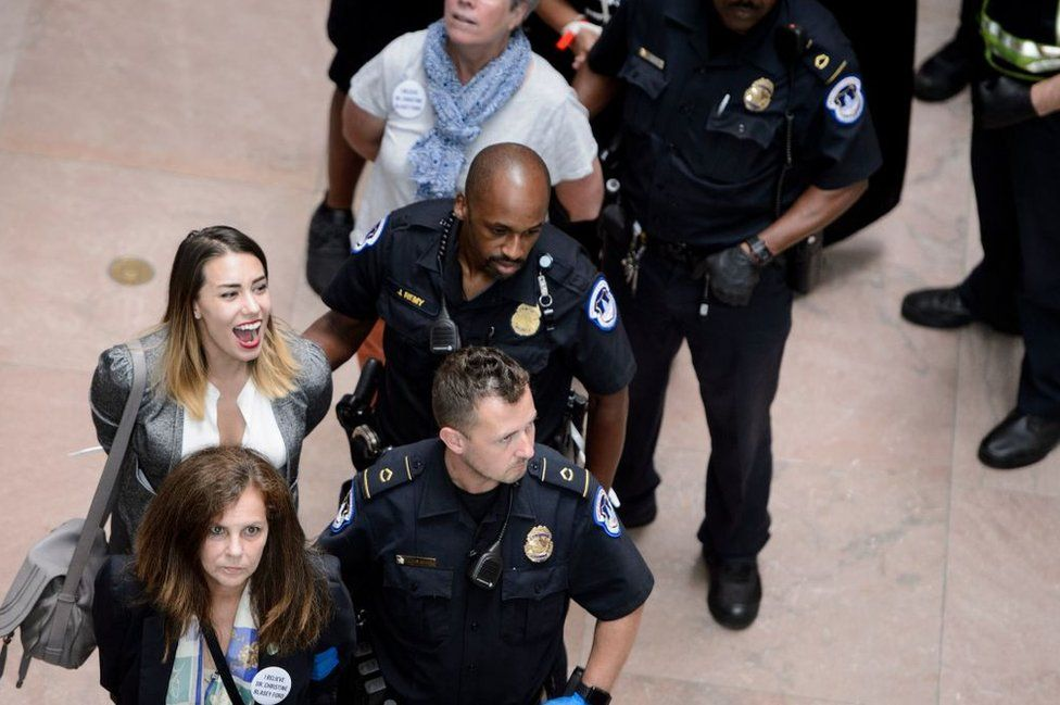 Capitol Police arrested 56 people on Thursday in anti-Kavanaugh protests