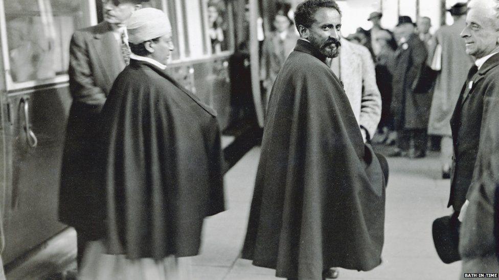 Haile Selassie arriving at Bath Spa station August 1936