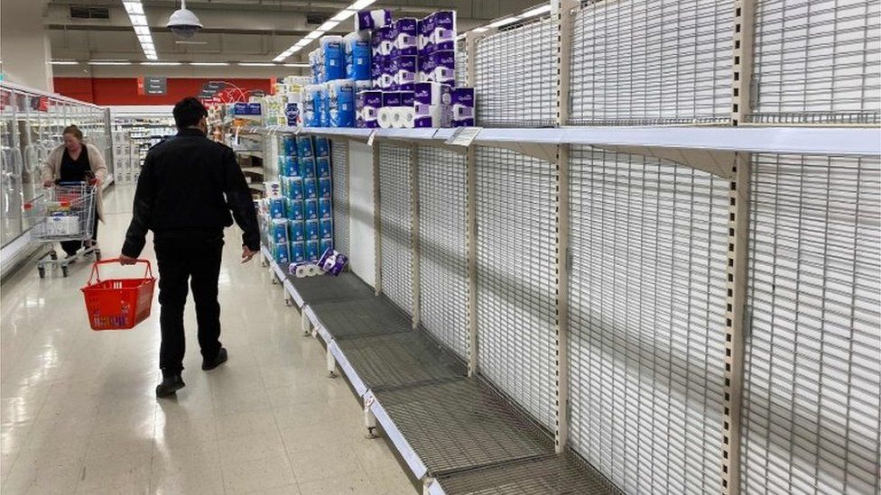 A nearly empty toilet roll aisle in Melbourne