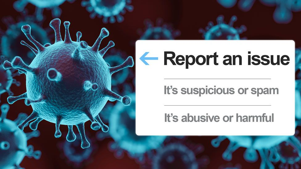 "A coronavirus stock image is seen with a mock-up of Twitter's ""report an issue"" banner overlaid"
