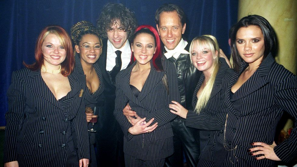 Richard E Grant with the Spice Girls and Bob Geldof