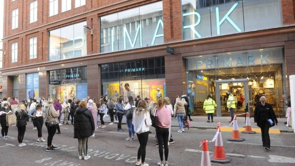 A queue outside Primark in Belfast