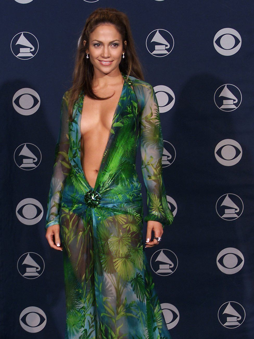 Jennifer Lopez in the original Versace dress at the Grammy Awards, February 2000