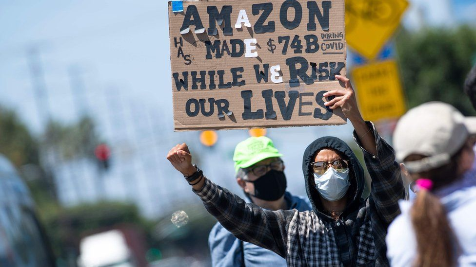 Amazon protestor