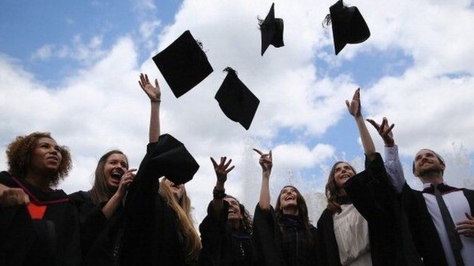 Graduates throwing their hats into the air