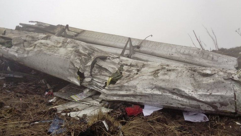 Wreckage of Twin Otter plane, operated by private Tara Air, is pictured after it crashed due to bad weather, in Myagdi, Nepal, February 24, 2016.