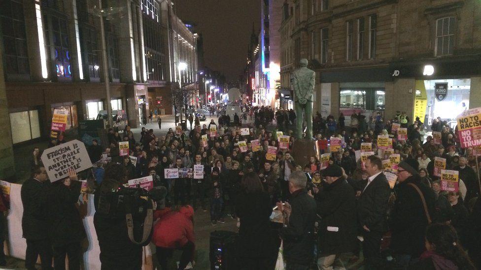 protestors in Glasgow