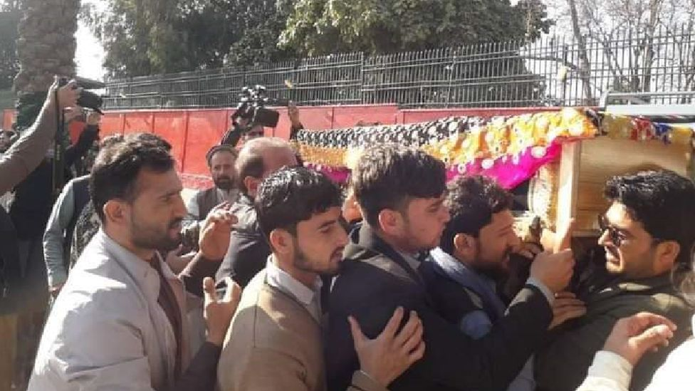 Maiwand's coffin is carried to her grave on Thursday