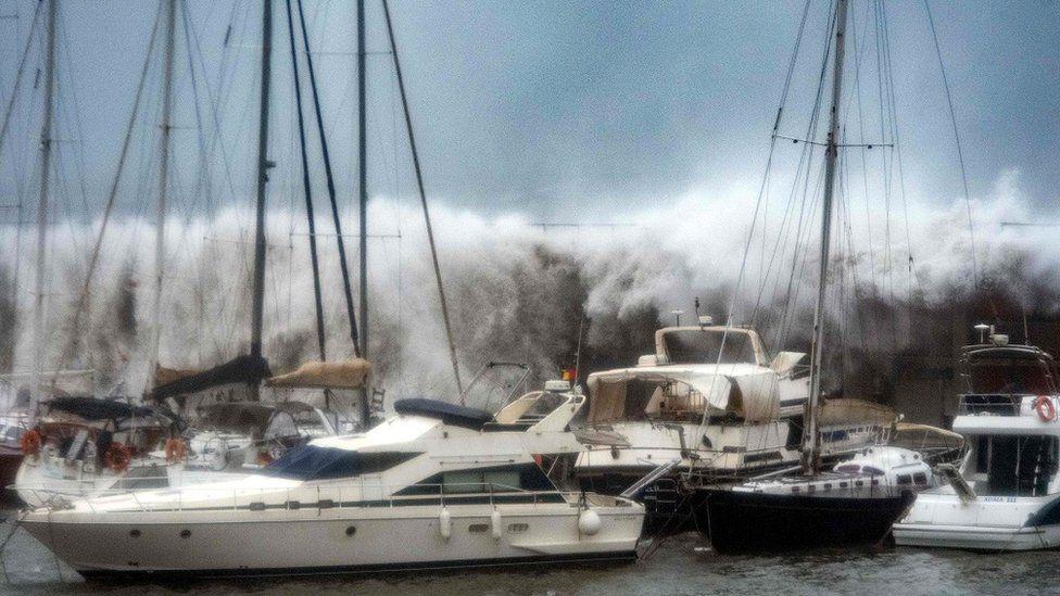 Storm Gloria Waves surge into Barcelona's Olympic Marina