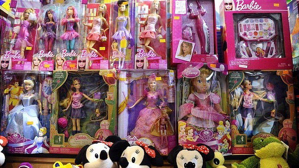 Barbie dolls on display