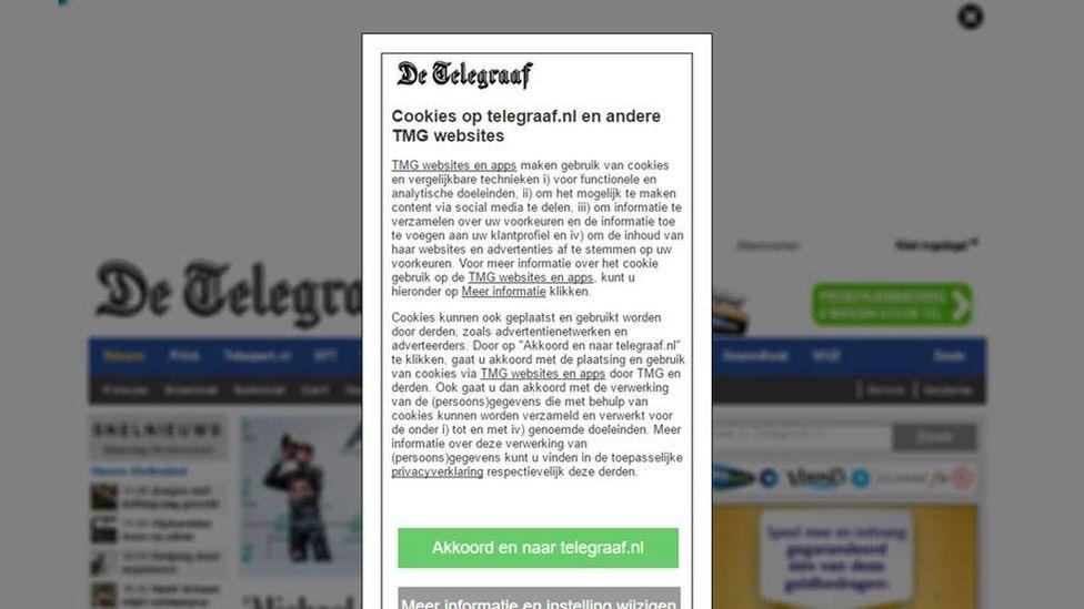 De Telegraaf cookie pop-up