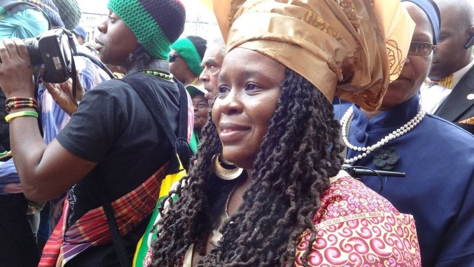 Member of the Stop The Maangamizi Campaign, Esther Stanford-Xosei