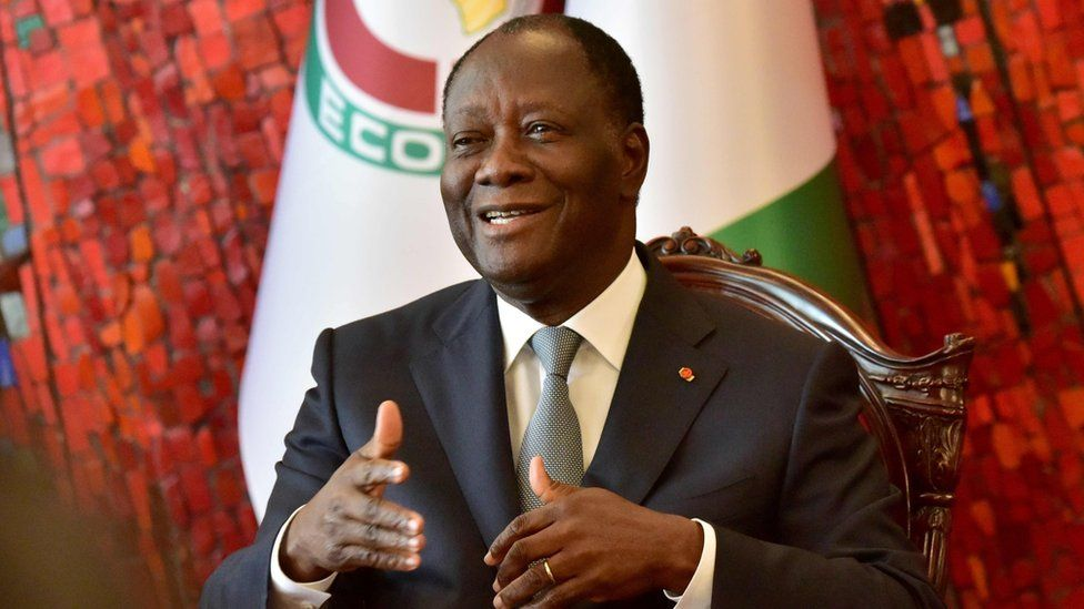 Ivory Coast president Alassane Ouattara speaks during a ceremony at the presidential palace in Abidjan on 24 September