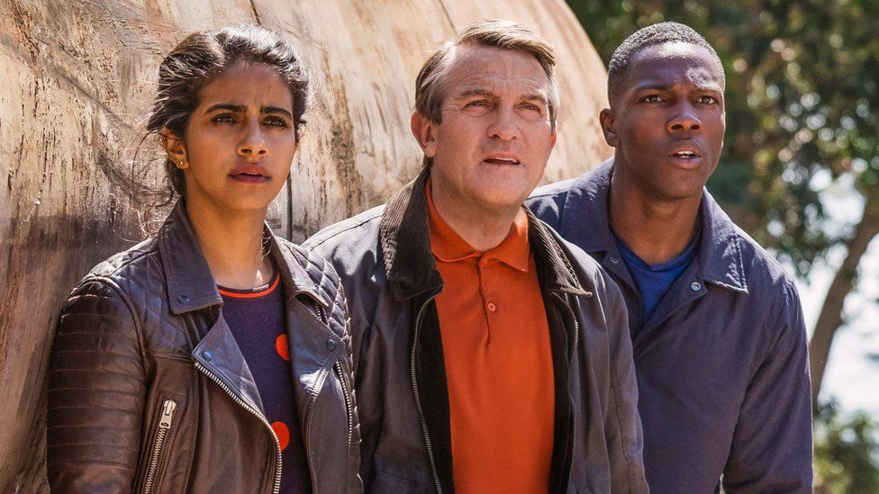 Bradley Walsh (centre) with fellow companions Mandip Gill and Tosin Cole