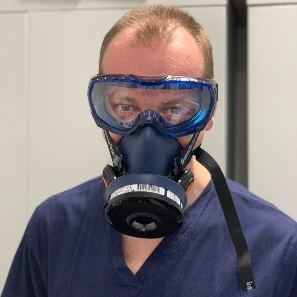 Consultant Tom Lawton in one of his modified industrial masks