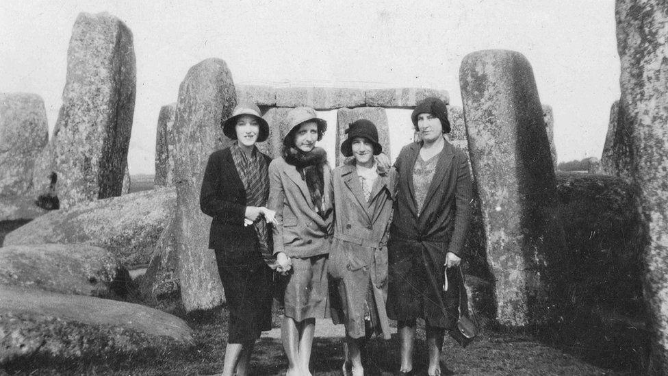 Women in 1932 standing in front of Stonehenge