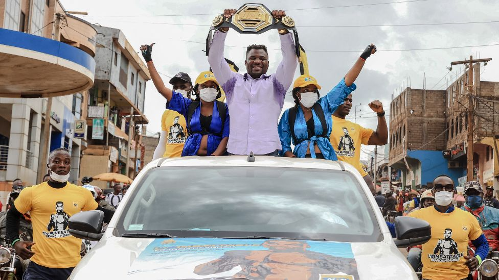 MMA champion Francis Ngannou parading through Bafoussam on a vehicle, Cameroon - Saturday 1 May 2021