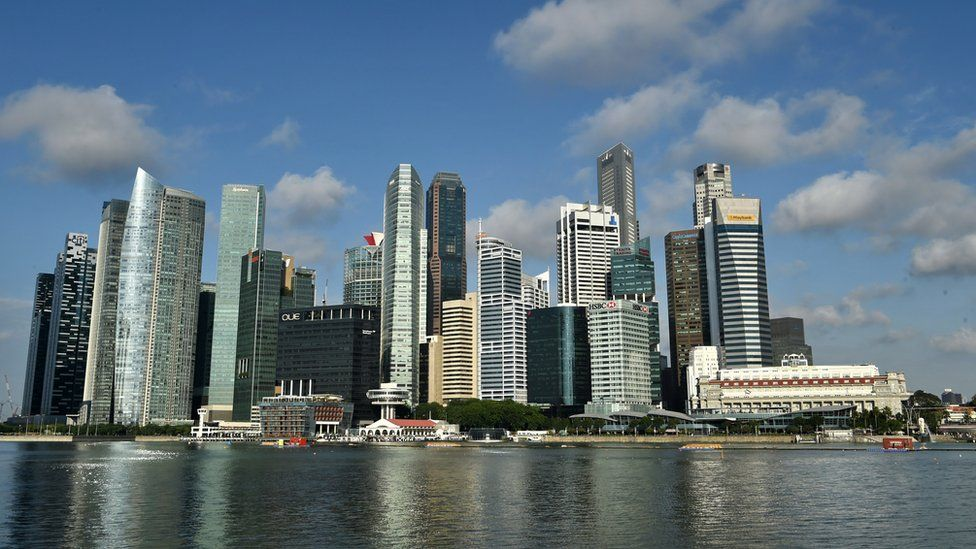 This general view shows the financial business district in Singapore on April 13, 2012.