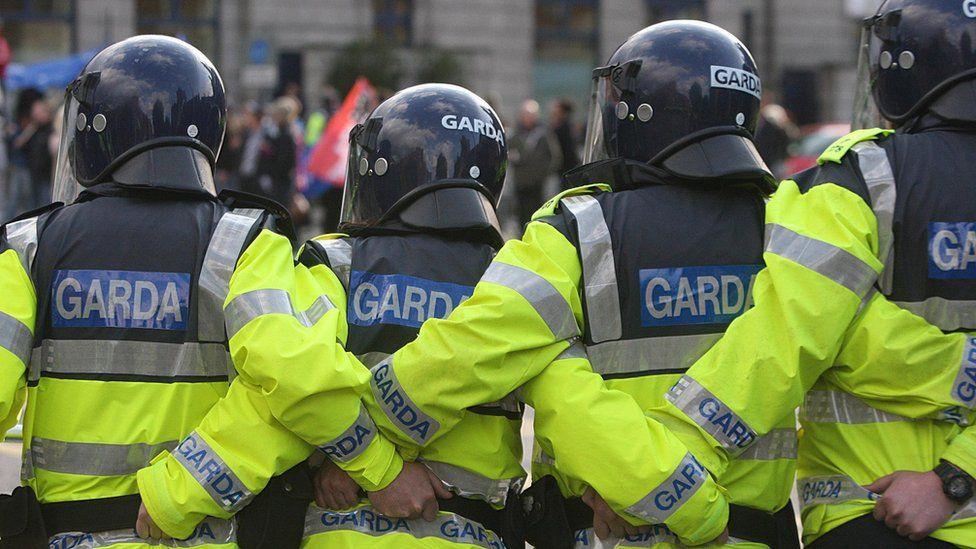 Garda officers in riot gear