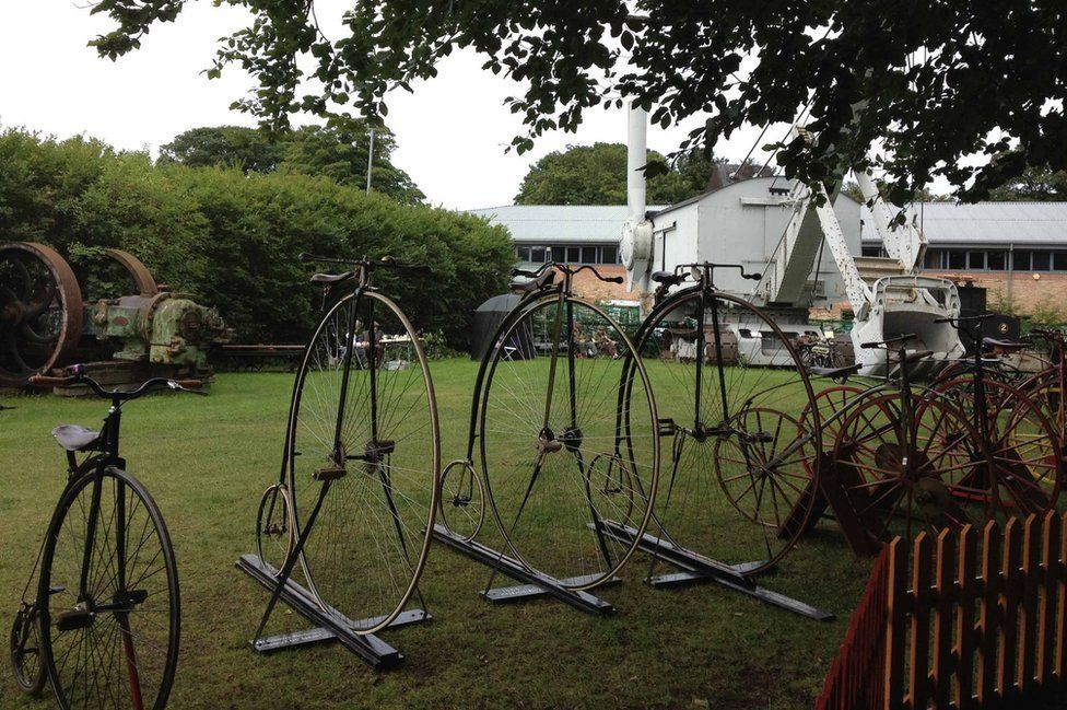 """Penny farthings and """"boneshakers"""" dating from the early 1880s"""