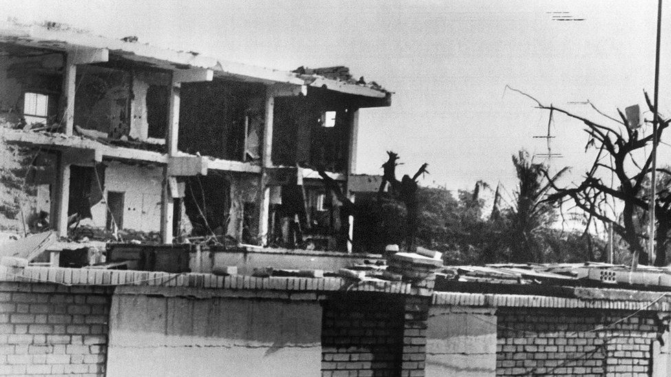 Aftermath of suicide bomb attack on US embassy in Kuwait (12 December 1983)