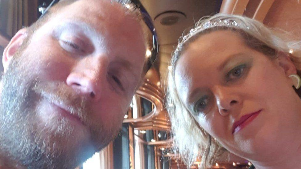 Elisa McCafferty and her husband on board the Ruby Princess ship