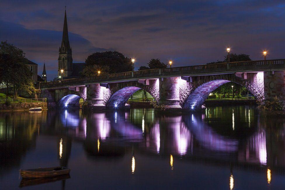 Old Dumbarton bridge is illuminated