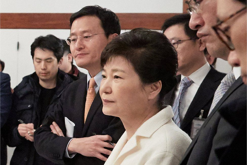 South Korean President Park Geun-hye listens to a reporter's question during a meeting with reporters at the Presidential Blue House in Seoul, South Korea, in this handout picture provided by the Presidential Blue House and released by Yonhap on 1 January 2017.