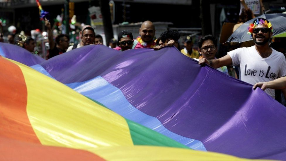 The LGBTI community and its supporters during a march in support of gay marriage, Mexico City,