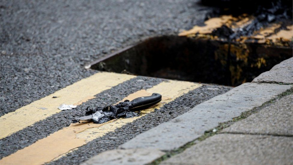 A knife was recovered by the police from a drain following the stabbings