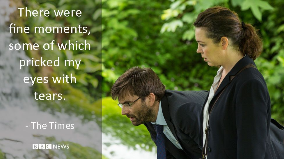 David Tennant and Olivia Colman in Broadchurch. The Times review: There were fine moments, some of which pricked my eyes with tears.