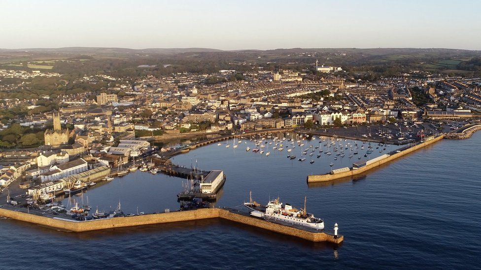 Aerial view of the town of Penzance