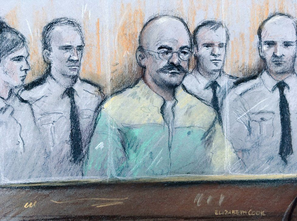 A court sketch of Charles Bronson