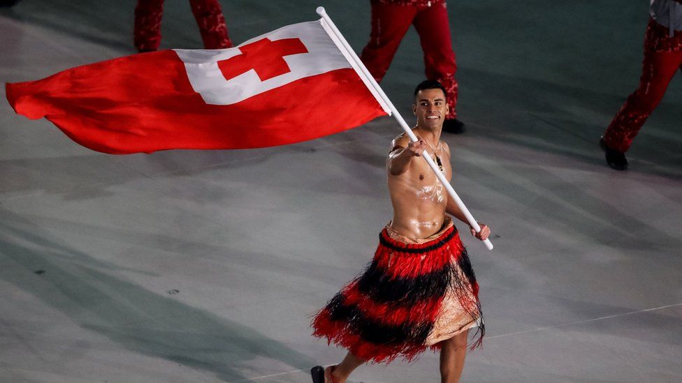 Pita Taufatofua leads his country's delegation during the opening ceremony of the Pyeongchang 2018 Winter Olympic Games
