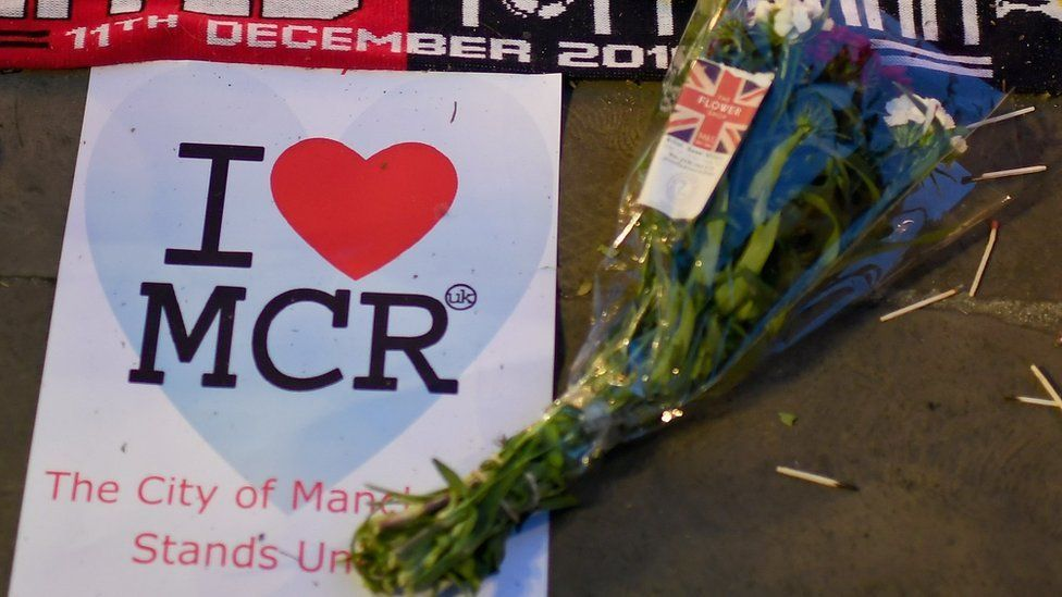 Flowers laid for Manchester attack victims