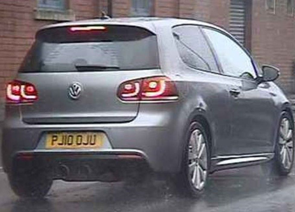 Three-door silver/grey VW Golf, registration number PJ10 OJU,