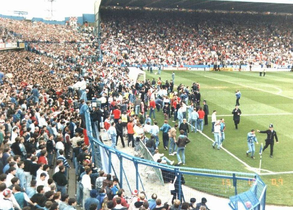 Leppings Lane end of Hillsborough stadium on the day of the disaster