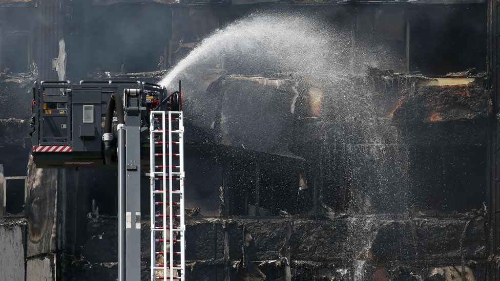 Hoses are used on Grenfell Tower